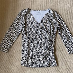 Talbots Faux Wrap 3/4 Sleeve V neck Top Small
